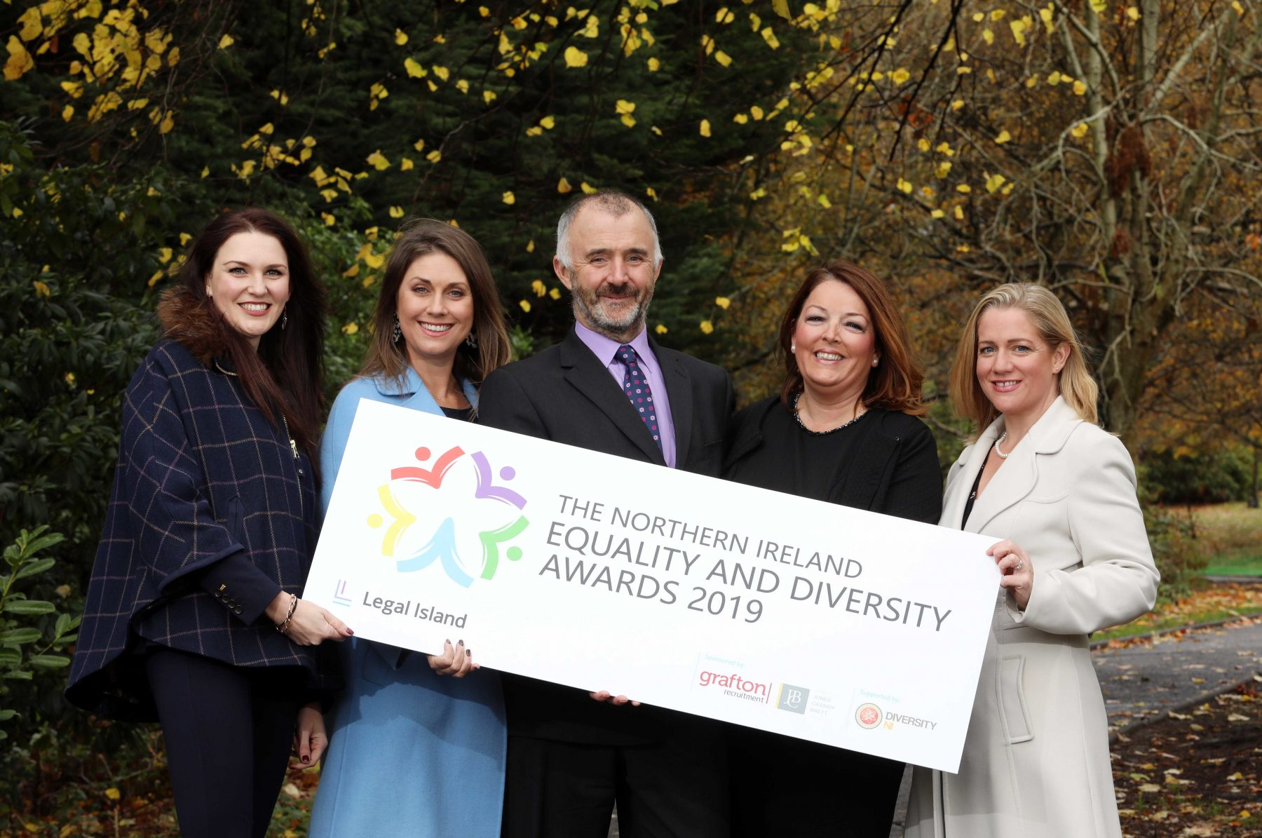 Paolina Hawthorne, Founder, Diversity NI Ltd; Sarah Travers, awards host; Barry Phillips, Chair of Legal-Island, organisers of the awards; Tina McKenzie, CEO of Grafton Recruitment Ireland; and Ciara Fulton, Senior Partner, Jones Cassidy Brett.