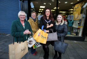 Mayor of Mid and East Antrim, Councillor Lindsay Millar (second from right) joined the many shoppers who made their way to Ballymena on Thursday to enjoy the special offers and promotions during the Discount Day sales. Also pictured (L-R) are Dawn Grealey, Christine O'Neill and Amber Breen.