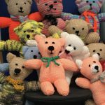 Trauma teddies knitted by a lady from Monkstown,