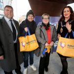 The Cool FM Roadshow with presenter, Pete Snodden, entertained the crowds during Discount Day. Pictured (L-R) are: Clive Kyle, BID Chairman, Pete Snodden, Cool FM presenter, Karen from Portadown and Mayor of Mid and East Antrim, Councillor Lindsay Millar.