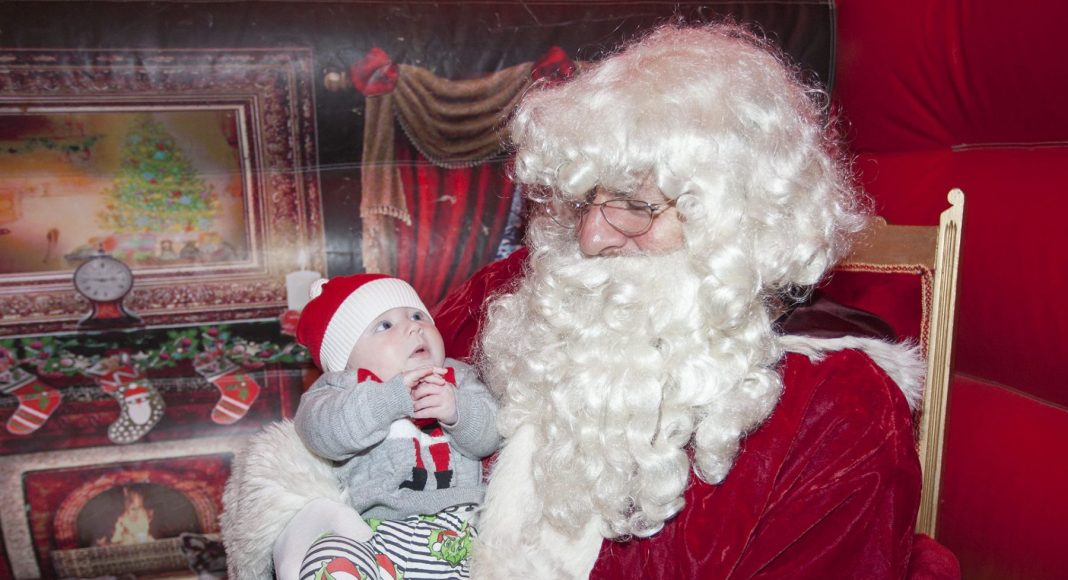 Baby Ezra Hill and Santa. Ezra is 13 weeks old, from Belfast and has Supraventricular tachycardia (SVT).
