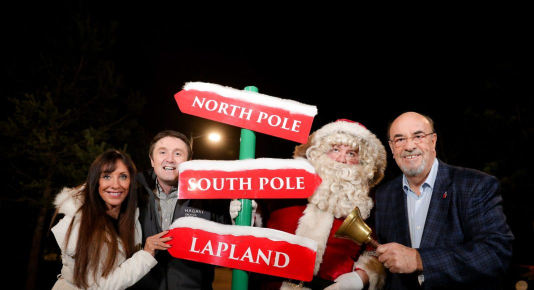 Pictured are (l-r) Fiona Williamson from NI Children to Lapland and Days To Remember Trust; Jim Burke, Director of Sales and Acquisitions, Hagan Homes; Santa Claus; and Jack Rodgers MBE, Founder and Chairman, NI Children to Lapland and Days to Remember Trust.