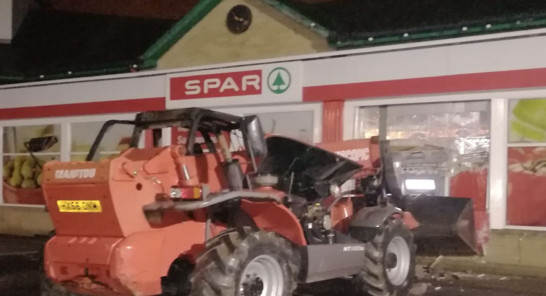 A PSNI photo from the scene of the attempted ATM theft in Omagh this morning.