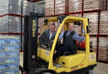 Boost Energy founder and Managing Director Simon Gray (left) celebrates a record year for the drinks company in Northern Ireland with Gareth Hardy, Managing Director of County Antrim-based Hardy Sales and Marketing Ltd (HSMNI).